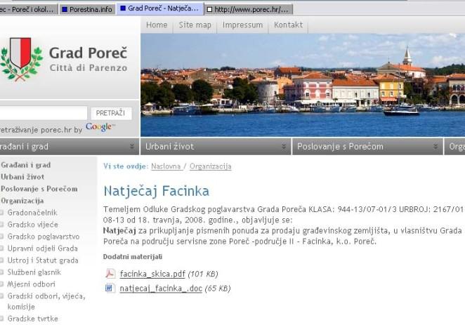 Grad Poreč objavio natječaj za prodaju građevinskog zemljišta (Facinka) na oglasnoj ploči Grada i na web-stranicama Grada