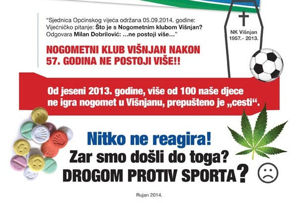 Letak kruži Višnjanom: Drogom protiv sporta