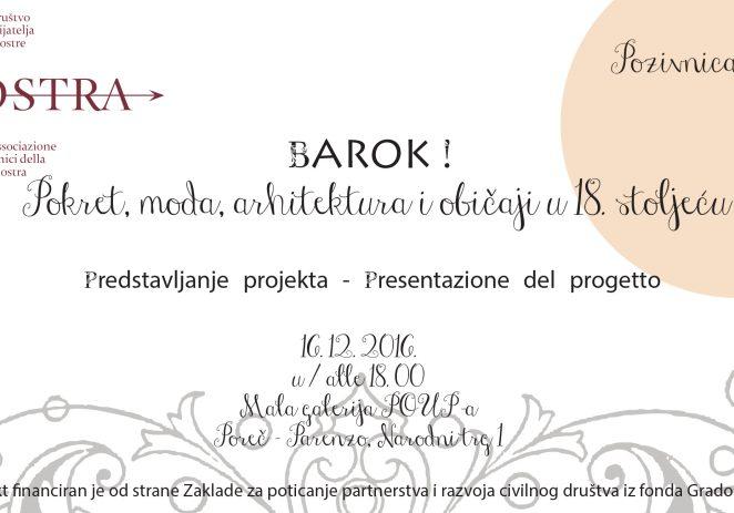 """""""Barok! Pokret, moda, arhitektura i običaji u 18. stoljeću"""" 16. prosinca u maloj galeriji POUPa"""