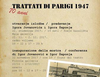 "Fotoizložba ""Pariški mirovni ugovori 1947."" u Maloj galeriji POUP-a od 22.11. do 2.12.2017."