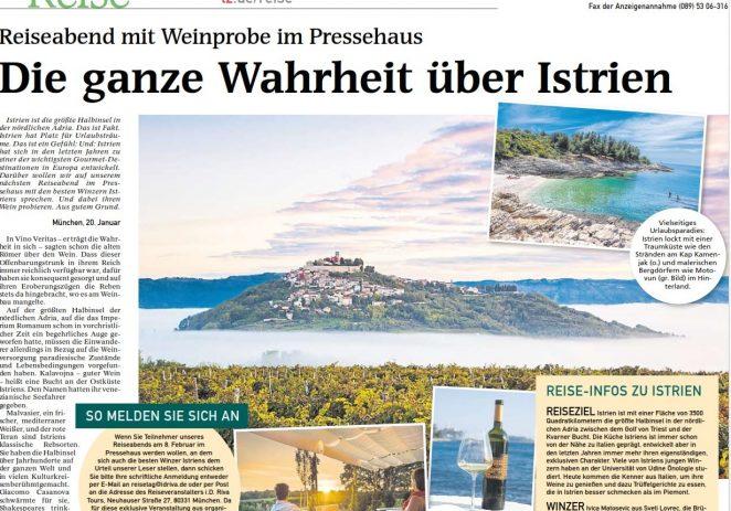 Medijska grupa Münchener Merkur/Tages Zeitung, TZ Istarske županije i  njemački turoperator ID RIVA organiziraju promociju Istre u pred i posezoni 2018.