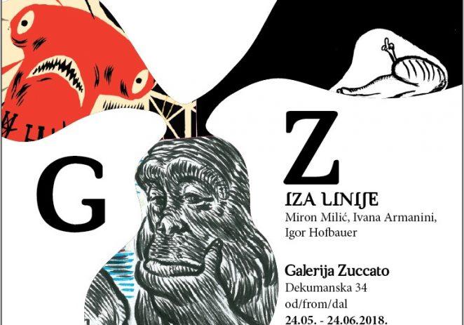 """Izložba """"Iza linije"""" Ivane Armanini, Igora Hofbauera i Mirona Milića u galeriji Zuccato od 24.5. do 24.6."""