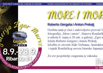 "Izložba ""More i more"", članova ronilačkog kluba Ugor iz Vrsara od 8. rujna (subota) u Funtani"