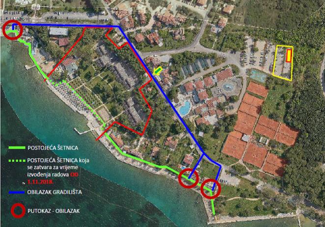Zbog radova na novom hotelu zatvoren dio šetnice u Špadićima