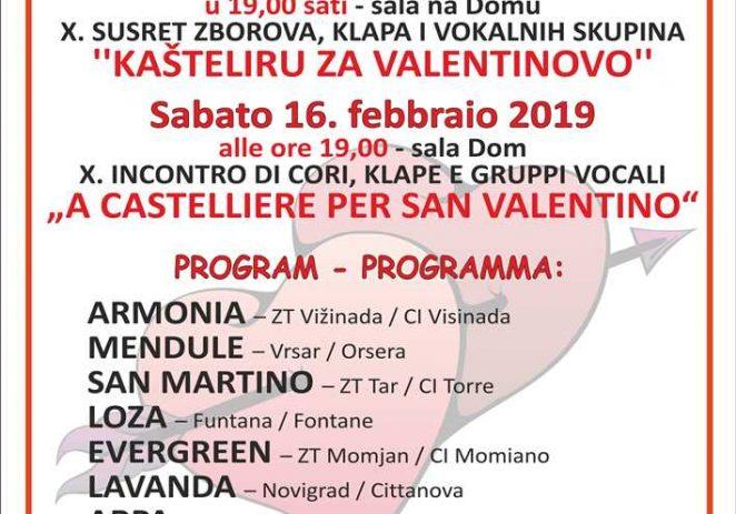 """U subotu, 16.2.2019. X.Susret zborova, klapa i vokalnih skupina """"Kašteliru za Valentinovo"""""""
