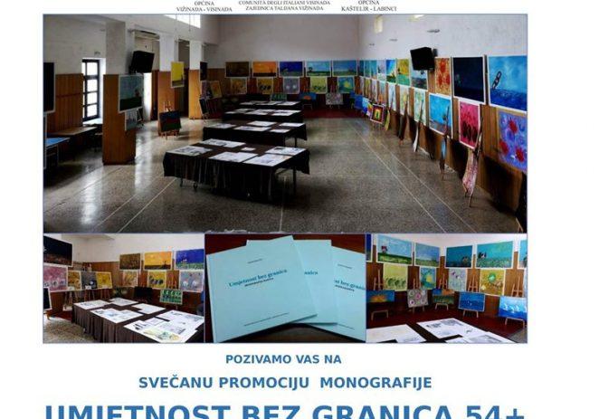 """U srijedu, 22.5.2019. promocija monografije """" Umjetnost bez granica"""" u sali Dom u Kašteliru"""