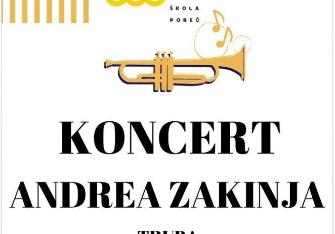 U ponedjeljak, 24. lipnja koncert Andrea Zakinja u Umjetničkoj školi Poreč
