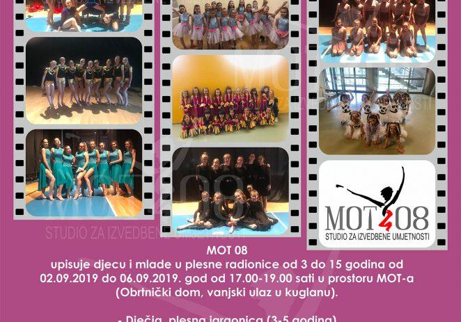 MOT 08, Studio za izvedbene umjetnosti objavljuje upise  u  plesne radionice za djecu od 3 do 17 godina
