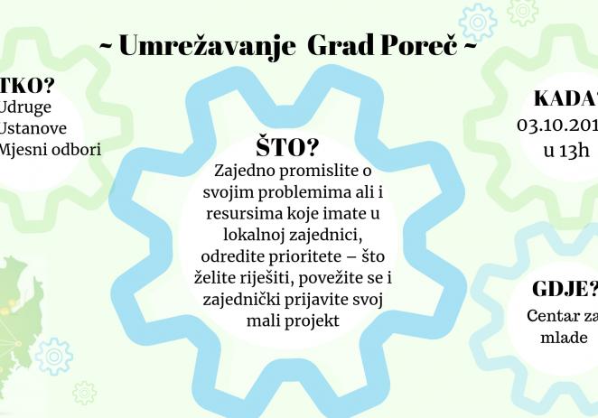 """Poziv na umrežavanje dionika u gradu Poreču – priprema za prijavu na natječaj """"Mali projekti za bolje sutra"""""""
