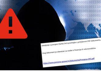 Malware kampanja lažira mailove Porezne uprave ! NE OTVARAJTE MAIL sa adrese informiranje@porezna-uprava.org !!!