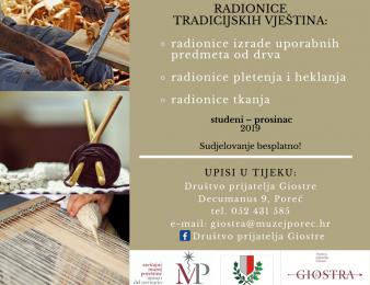 """Udruga """"Društvo prijatelja Giostre"""" organizira niz radionica tradicijskih vještina"""