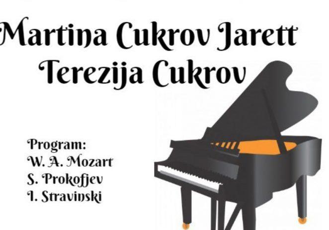 U utorak Koncert Dua Martine Cukrov Jarett i Terezije Cukrov povodom 45. obljetnice škole i 13. Dana klavira