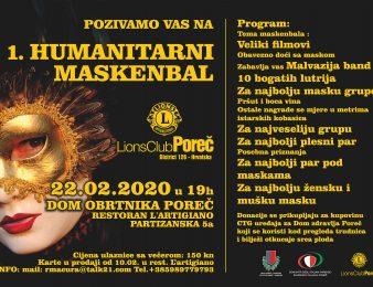 LIONS KLUB POREČ  POZIVA SVE ZAINTERESIRANE NA 1. HUMANITARNI MASKENBAL