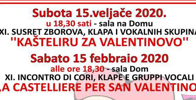 U subotu, 15.2.2020. u 18,30 sati u sali DOM u Kašteliru održava se XI. susret – Kašteliru za Valentinovo