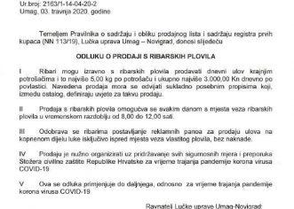 Lučka uprava Umag – Novigrad donijela odluku o prodaji izravno s ribarskih plovila krajnjim potrošačima