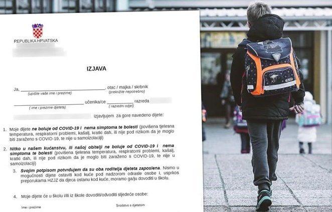 Izjava koju roditelji moraju potpisati ako žele djecu slati u školu