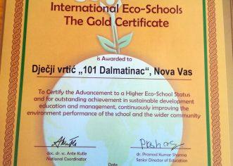 Zlatni Eko status za dječji vrtić 101 Dalmatinac !