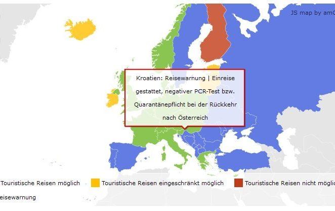Austrija: Nema djelomičnog upozorenja za putovanja u Hrvatsku