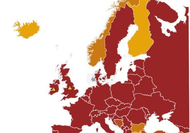 EU uvodi tamno crvene zone na epidemiološku kartu Europe