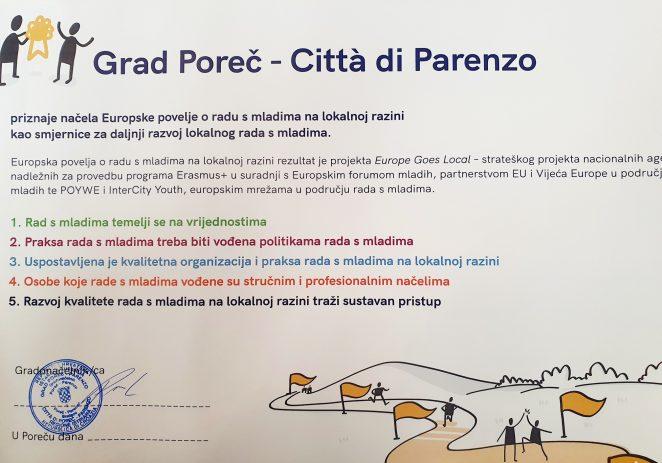 Grad Poreč dobio je Europsku povelju o radu s mladima na lokalnoj razini i nastavlja raditi na certificiranju i programima za mlade