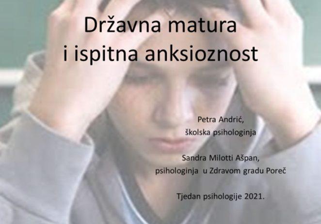 Zdravi grad Poreč: Podrška maturantima i roditeljima pred državnu maturu