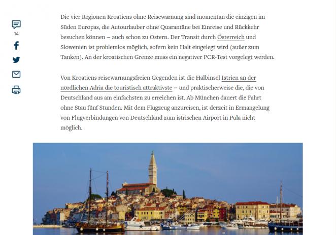 Njemački Die Welt: U Istru se može putovati bez karantene