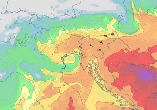 Povećana koncentracija prašine pustinjskog pijeska iznad Istre, Dalmacije, Slovenije