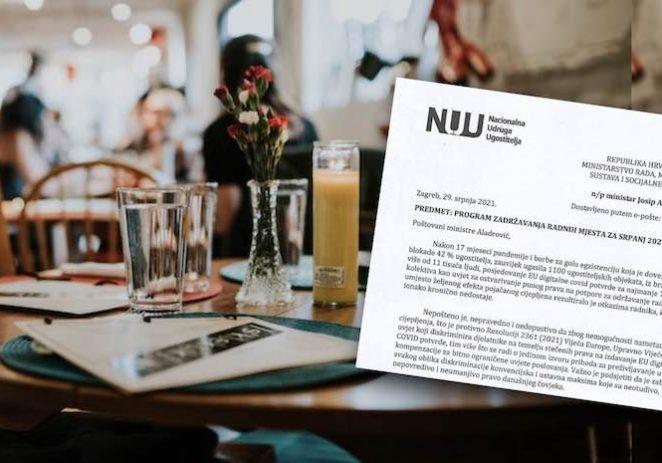 Pismo Nacionalne udruge ugostitelja Vladi, na koje Vlada ne želi službeno odgovoriti