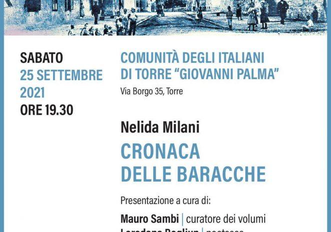 """Ove subote u Zajednici Talijana """"Giovanni Palma"""" Tar promocija knjige """"Cronaca delle baracche"""" autorice Nelide Milani"""