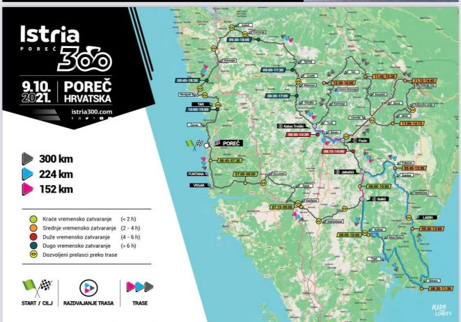 Privremena regulacija prometa u Istri povodom održavanja rekreativne biciklističke utrke ISTRIA300 na dan 9. listopada 2021.